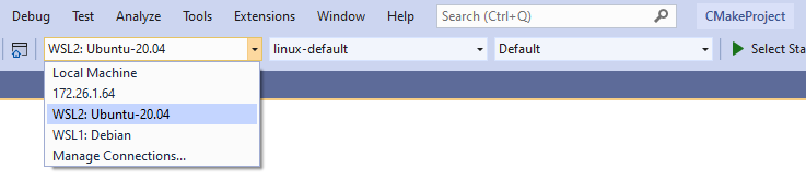 """An image of the Target System dropdown in Visual Studio. The options are """"Local Machine"""", """"172.26.1.64"""", """"WSL2: Ubuntu-20.04"""" and """"WSL1: Debian"""". """"WSL2: Ubuntu-20.04"""" is selected."""