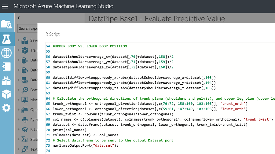 R Script Module to Generate Virtual Sensory Data Features in Azure ML