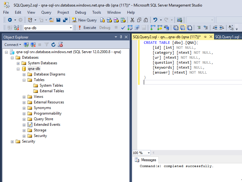 Creating SQL table