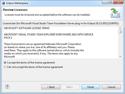 EULA page for Team Explorer Everywhere