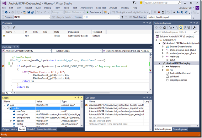 Debugging C++ code on Android with Visual Studio 2015 | Azure DevOps