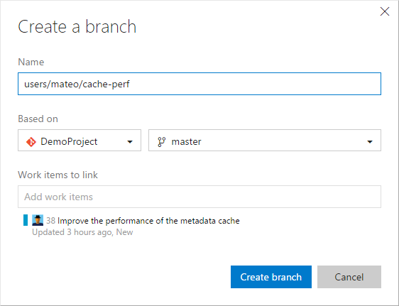 Create a branch and link work items