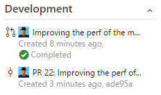 Development section shows linked pull request and merge commit