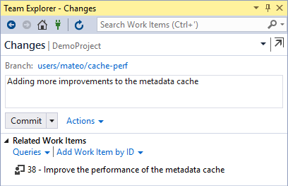 Related work items in Visual Studio