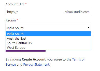 India South is available for new VSTS accounts!