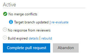 Build policy expiration message and rebuild option
