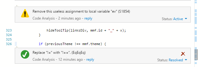 A javascript file with a resolved code analysis issue