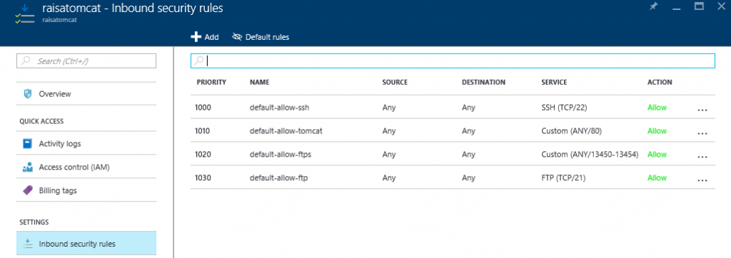 Azure inbound security rules