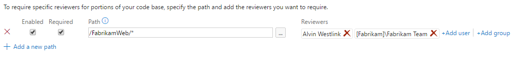 Configure the required reviewers for the specified path.