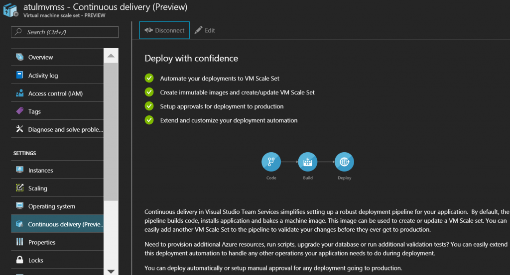 Virtual machine Scale Sets - Setup Continuous Delivery from Azure Portal