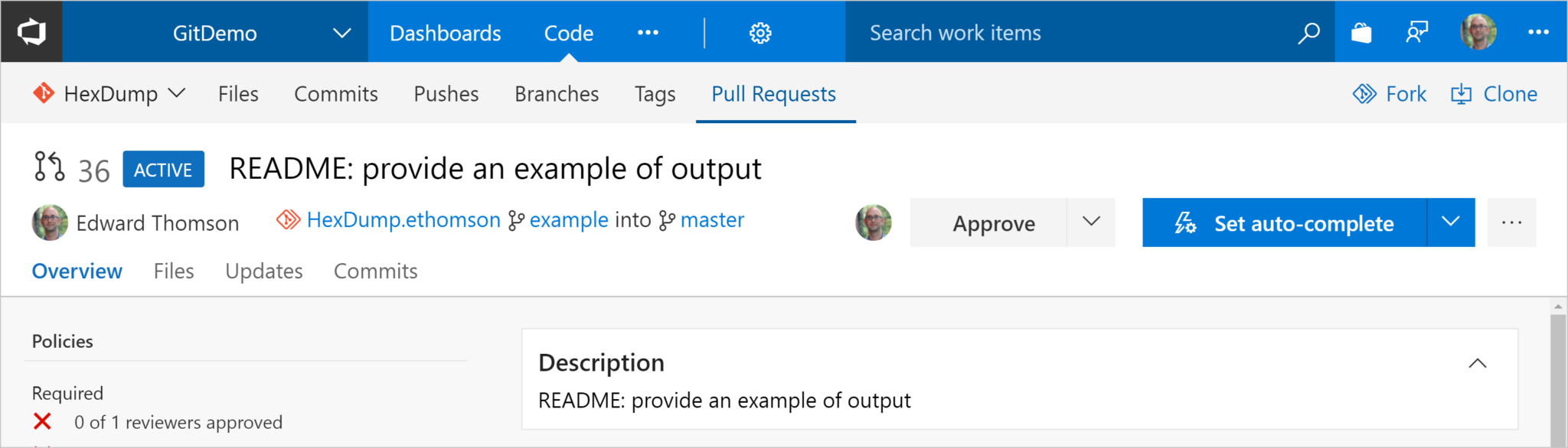 Screenshot: Open VSTS Pull Request Across Forks