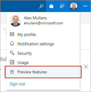 The preview features menu item in the user profile menu in the top-right of VSTS.
