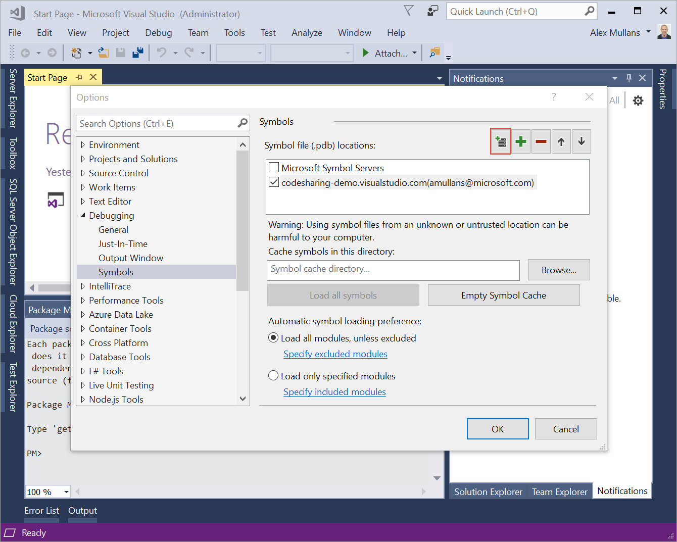 A VSTS symbol server configured in Visual Studio