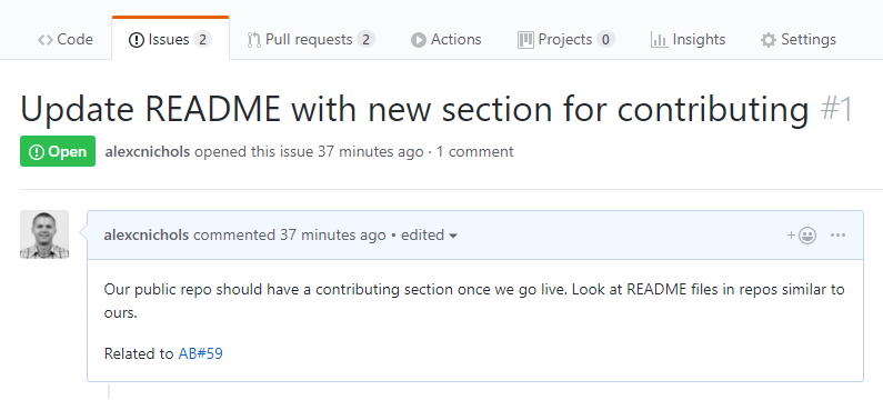 Work item mention in GitHub issue description