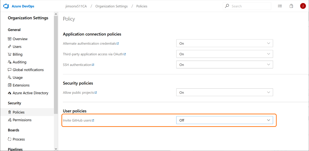 Enable inviting GitHub users to Azure DevOps organization