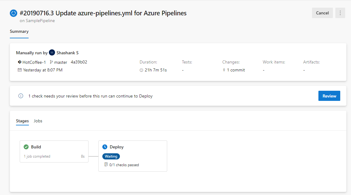 Approvals in YAML pipelines