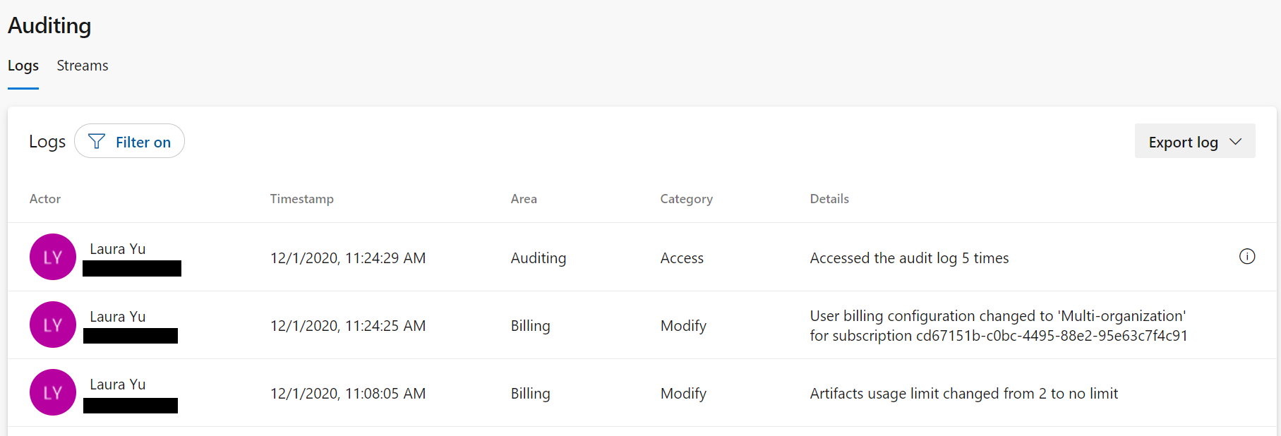 Billing and Token Management events now available in Auditing