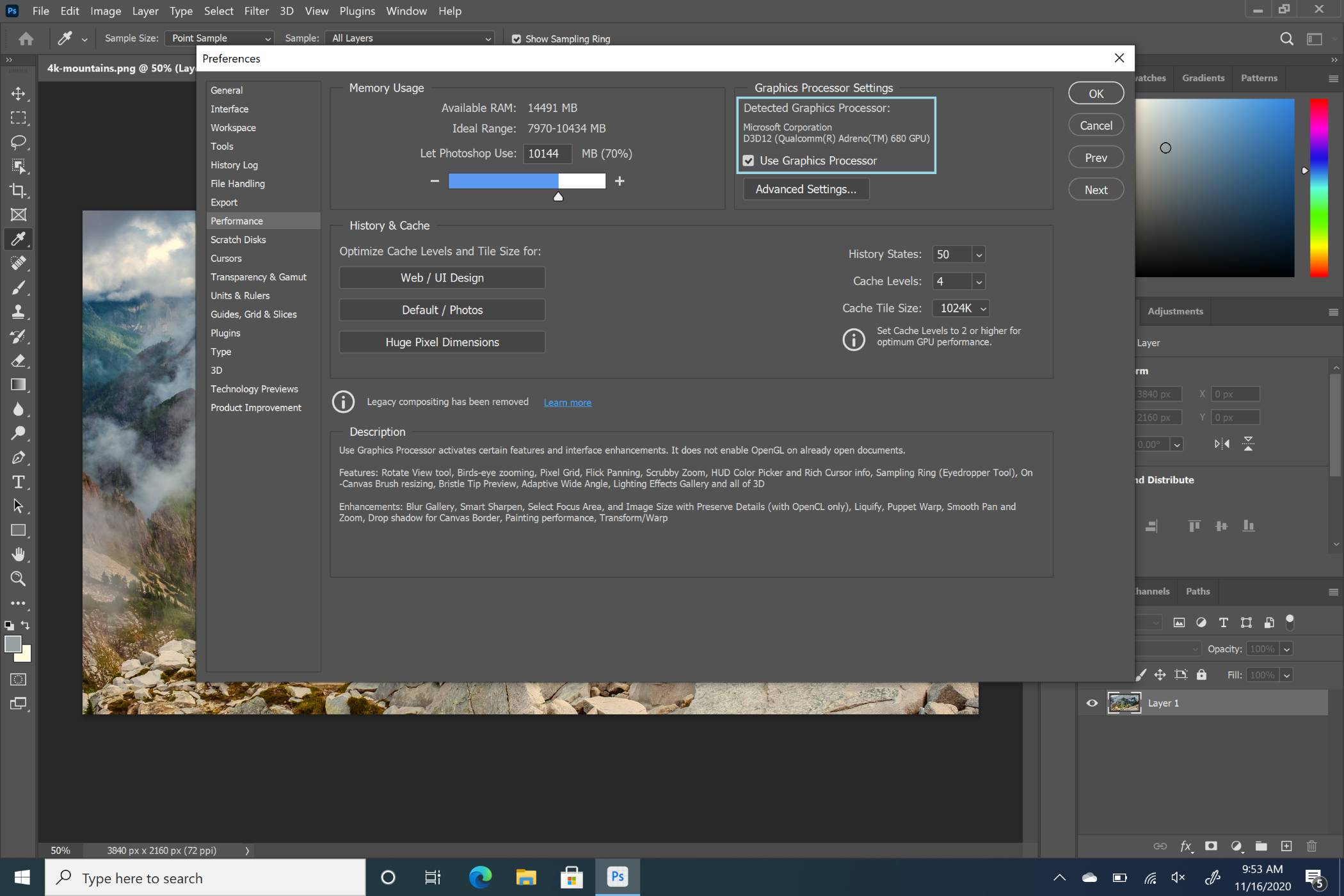 Photoshop on ARM settings detect GPU support when OpenCL and OpenGL Compatibility Pack is installed