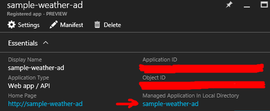 Getting the AD application's principal ID