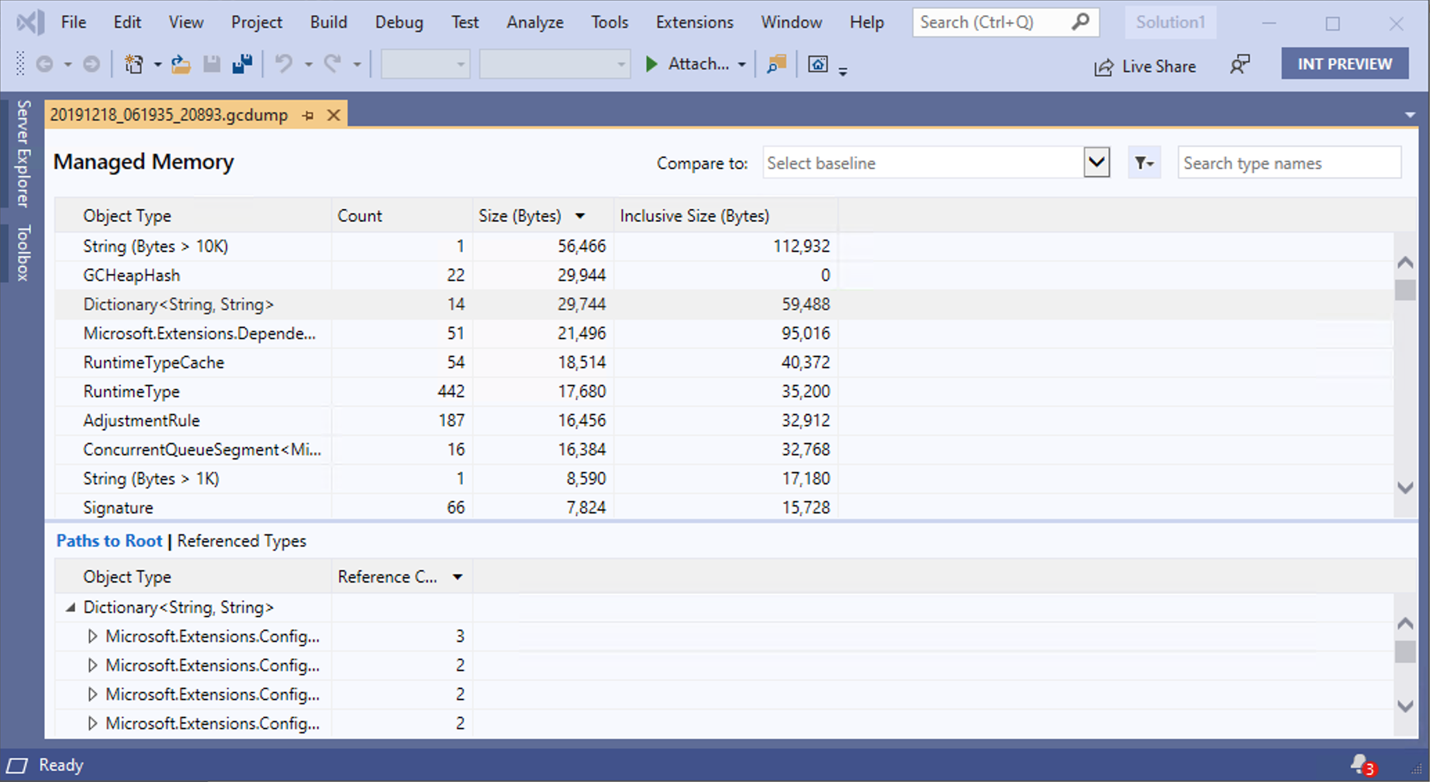 Memory analysis report in Visual Studio 2019