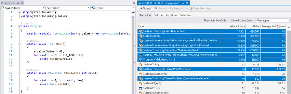 Async Allocations in .NET Framework