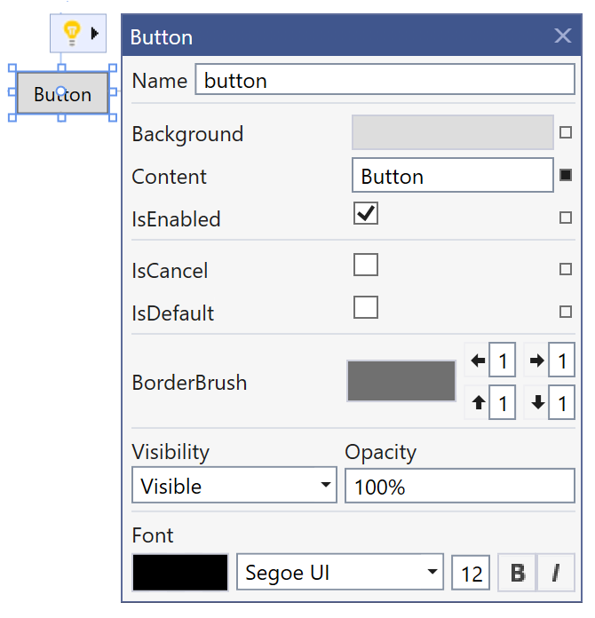 Suggested Actions for Button in Visual Studion