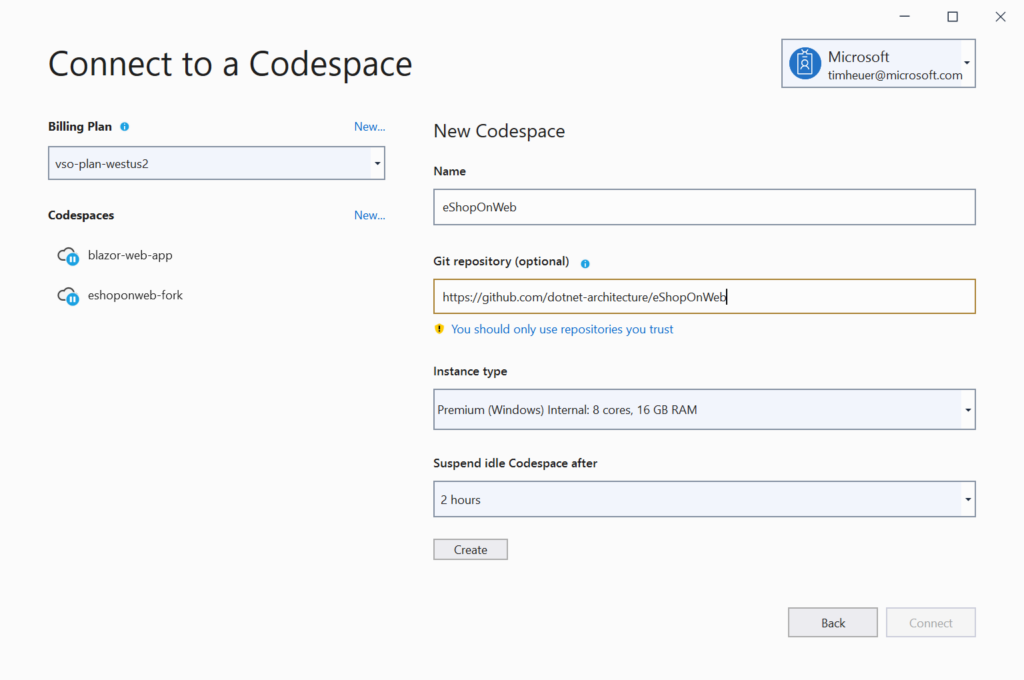 Using Visual Studio Codespaces with .NET Core