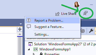 Giving feedback directly from Visual Studio