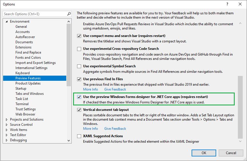 Enabling .NET Core Windows Forms designer in Visual Studio Settings