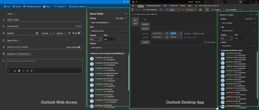 Outlook Room Finder panel hosted in WebView2 controls in desktop and web versions of Outlook