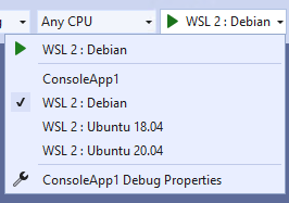 Multiple WSL 2 launch profiles in the launch profile list