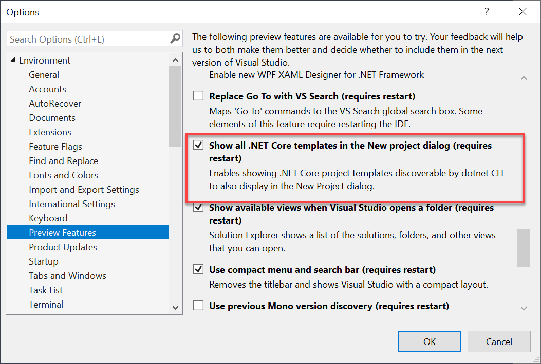 Image of Preview Features dialog