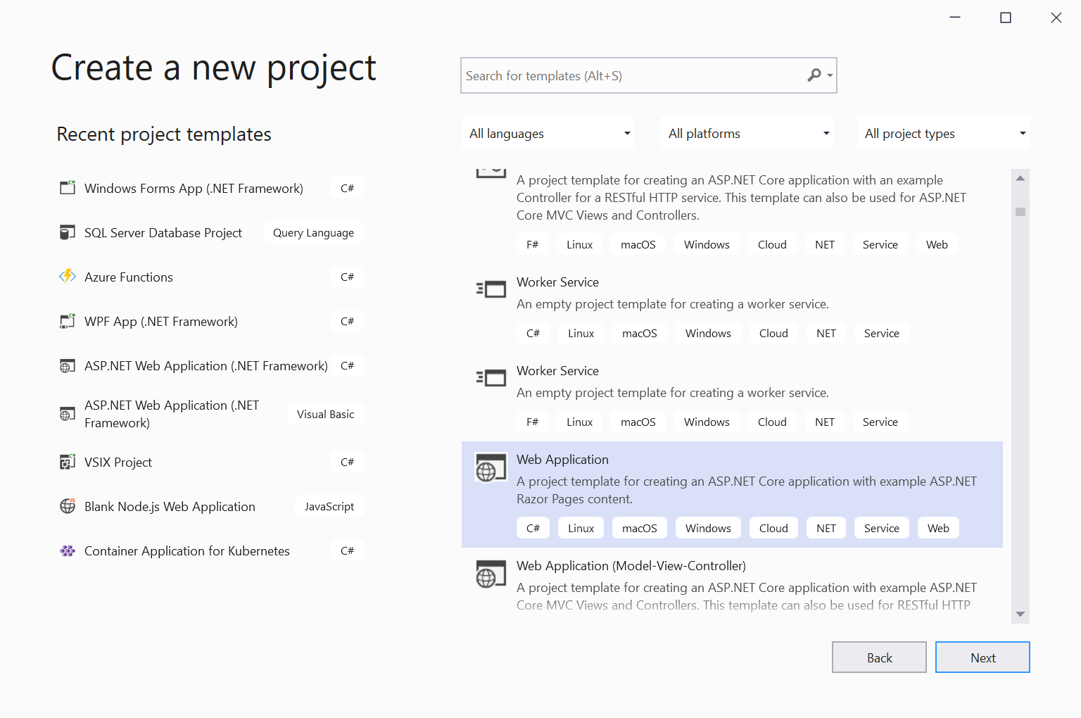 Image of New Project Dialog with templates listed