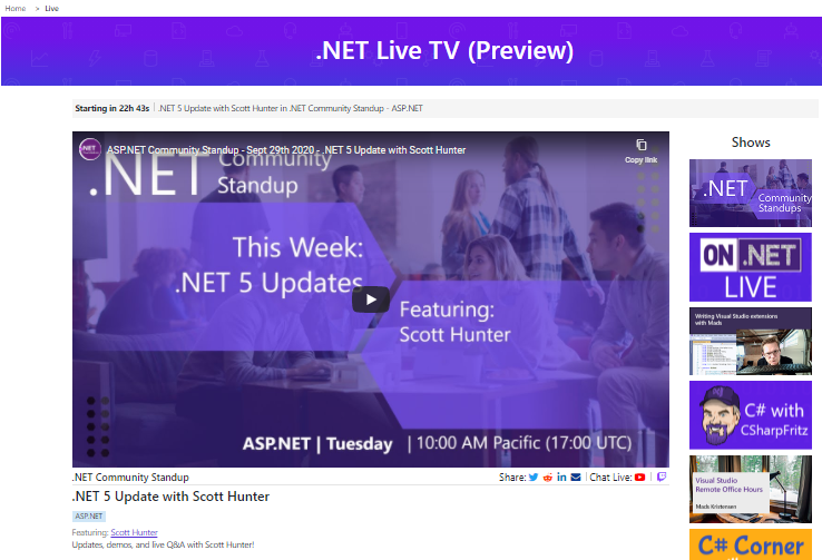Introducing .NET Live TV – Daily Developer Live Streams
