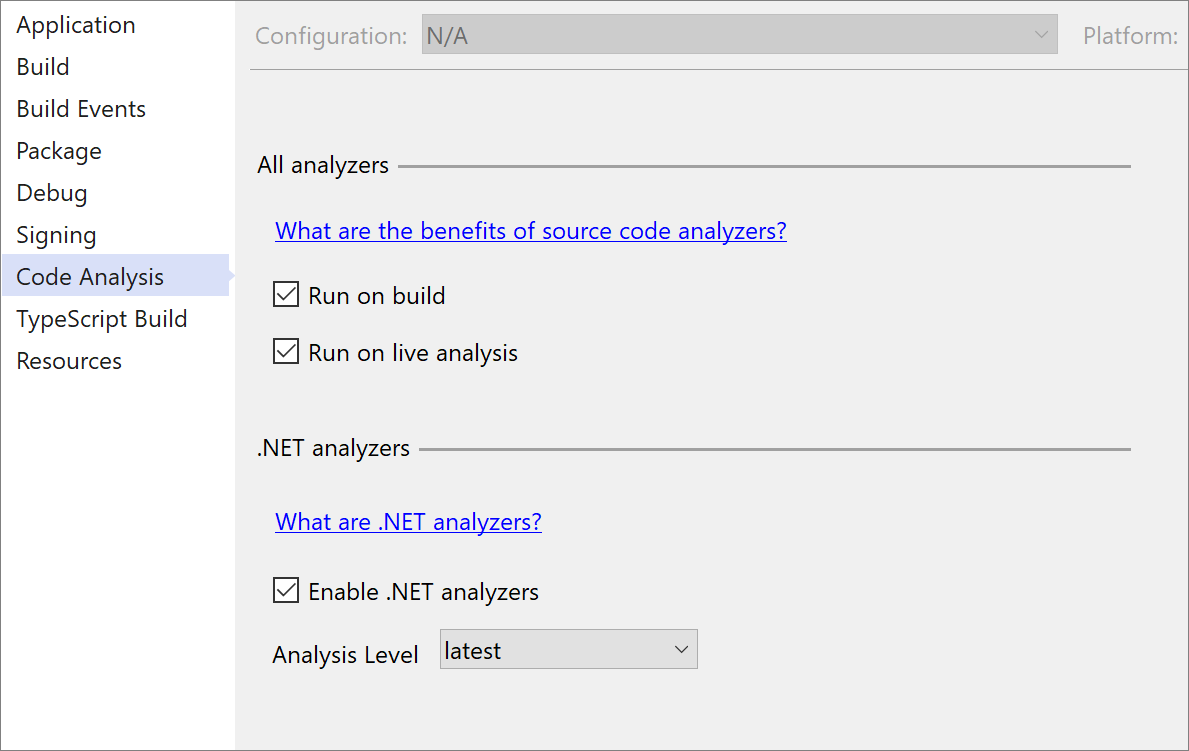 Project Properties dialog to enforce .NET 5.0 Analyzers