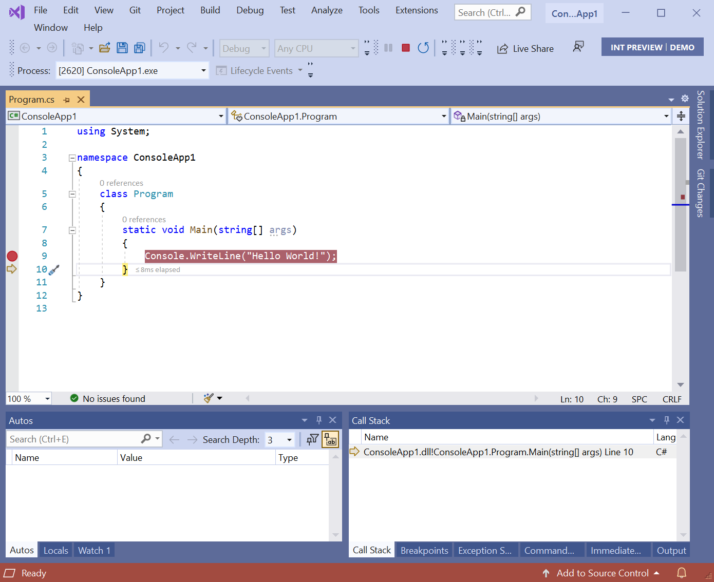 Debugger at brace after Console.Writeline