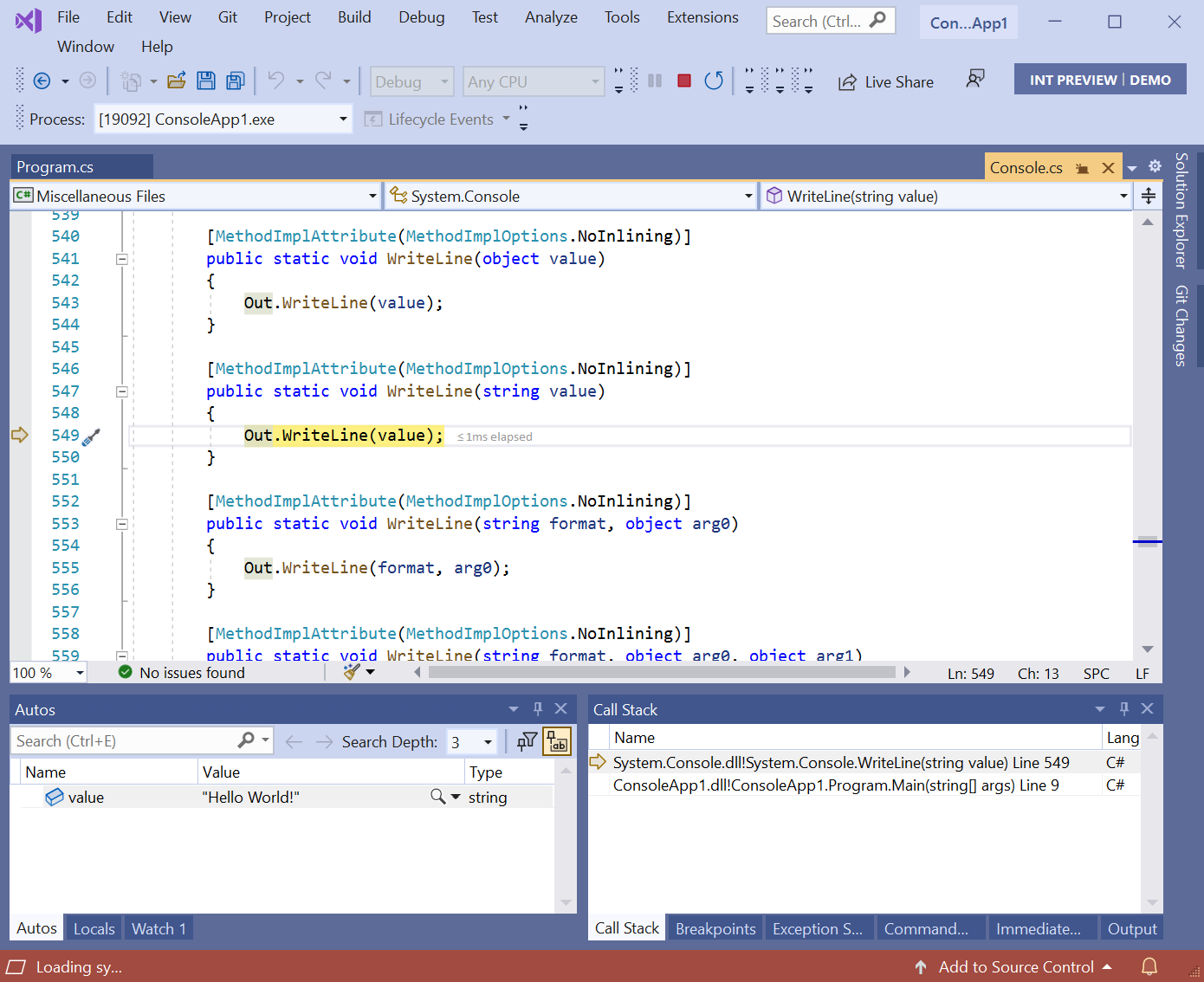 Debugger in Console.Writeline method