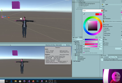 Example of character with purple light in Unity and terrance in the real world with same colors
