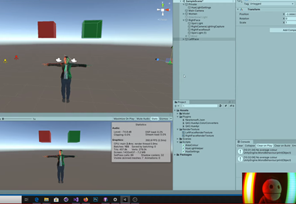 Example of character with yellow and green light in Unity and terreace in the real world with same colors