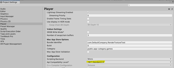 Setting API compatibility level in Unity to 2.0 standard