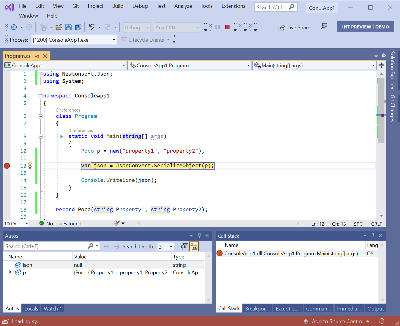 Debugger outside of JsonConvert.SerializeObject method