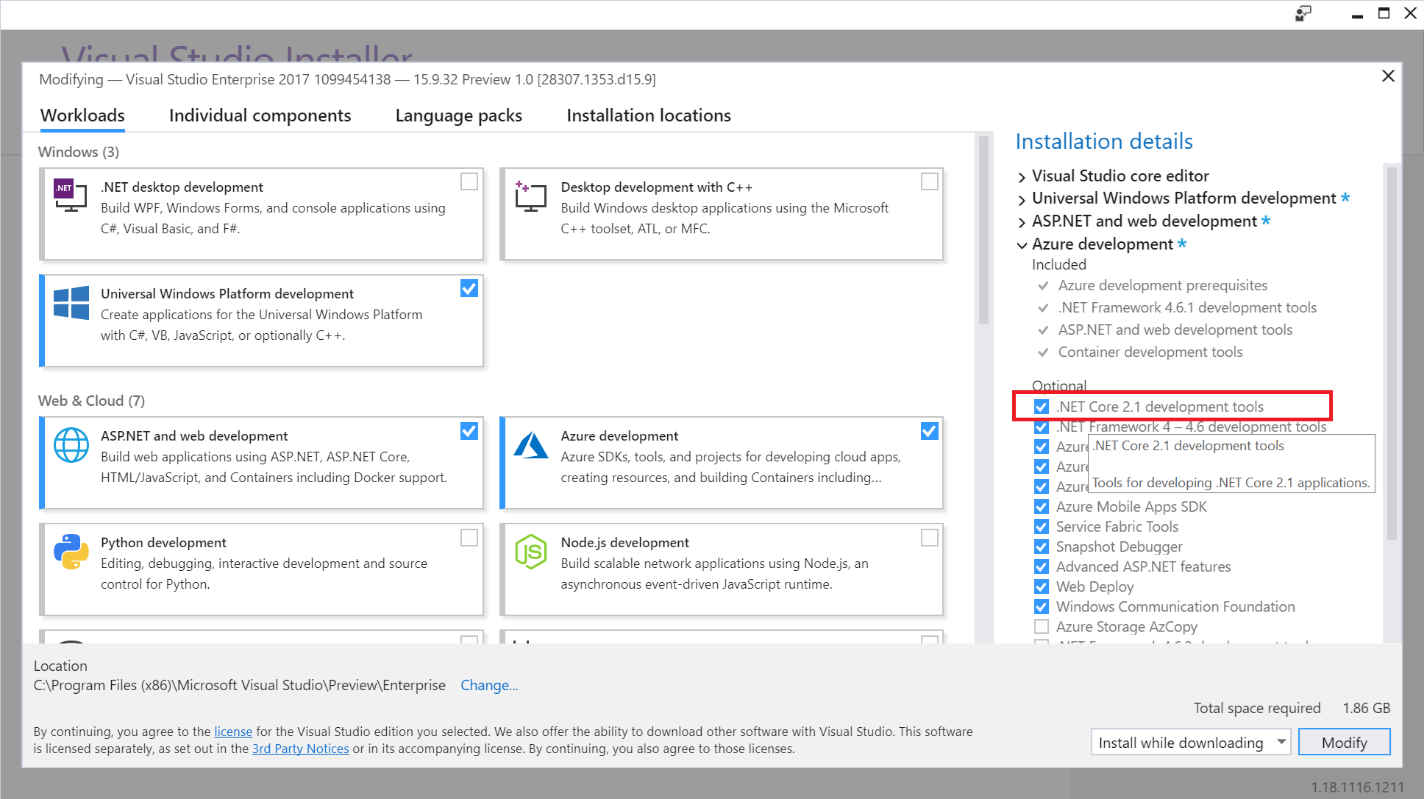 Removing the .NET Core 2.1 component using the Visual Studio Setup