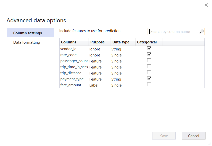 Advanced Data Options in Model Builder