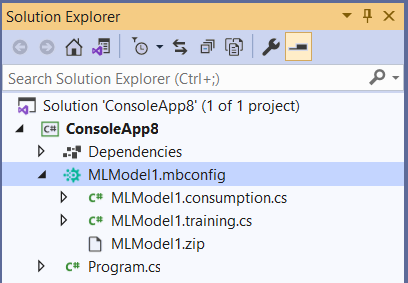Solution Explorer expanded with mbconfig in Visual Studio