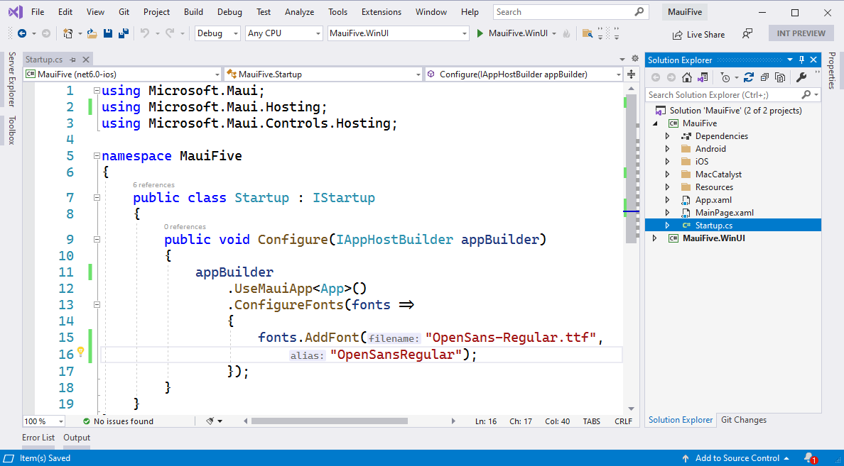 visual studio showing two projects