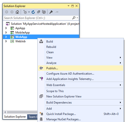 Publish Gesture within Visual Studio
