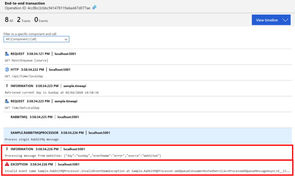 Observability Application Insights errors and logs