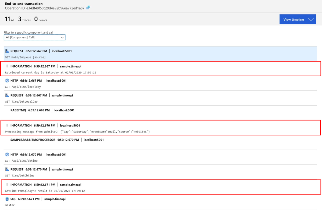 Observability Application Insights: traces and logs