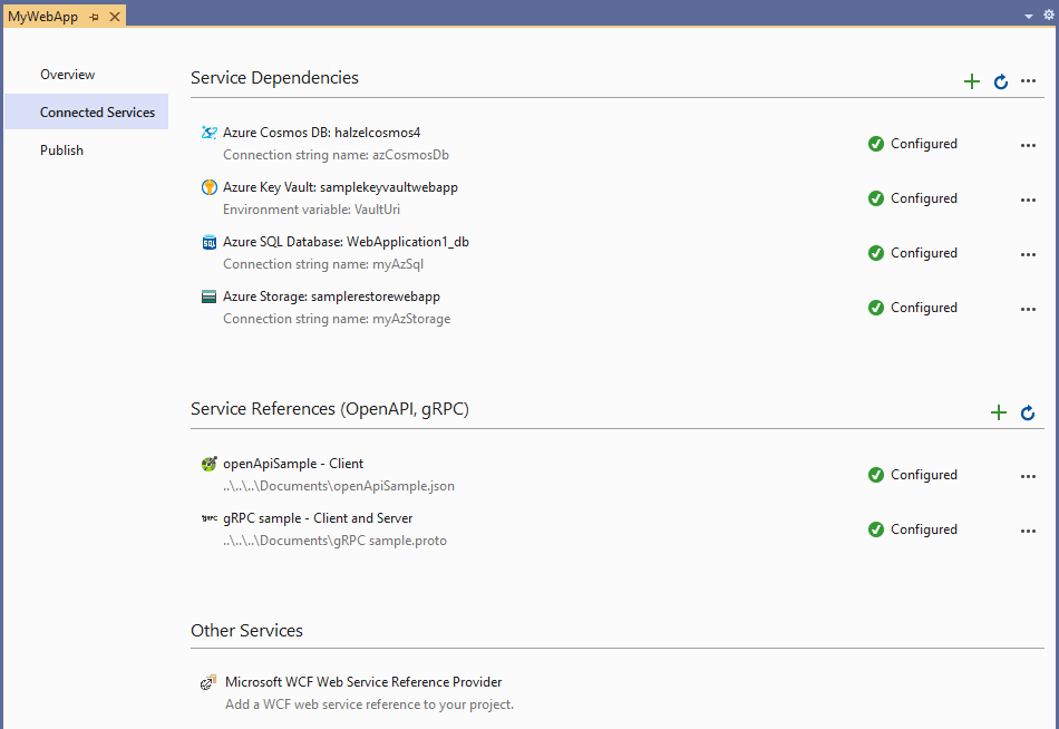 Connected Services Tab - Service References