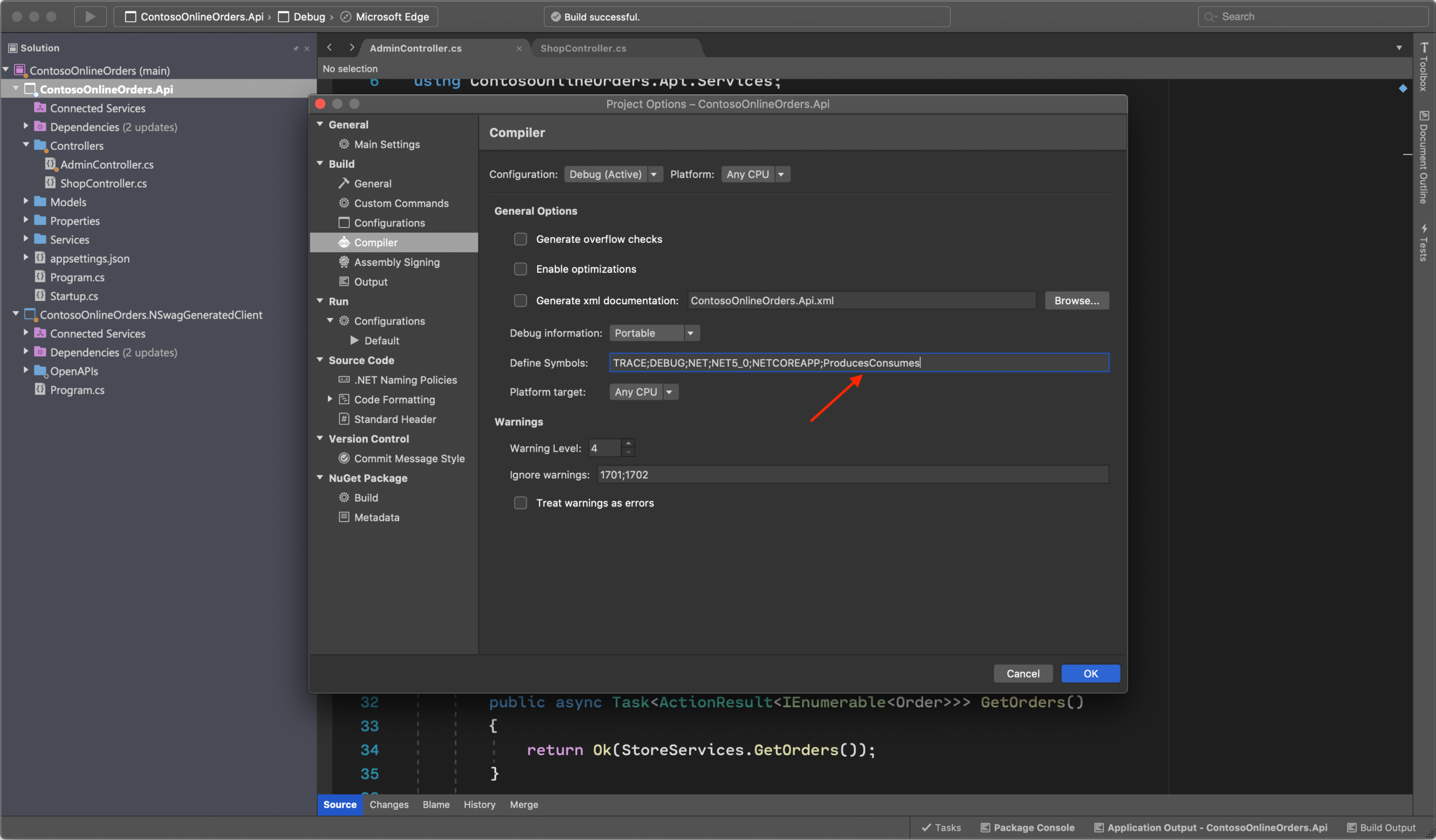 Adding ProducesConsumes to the compiler settings.